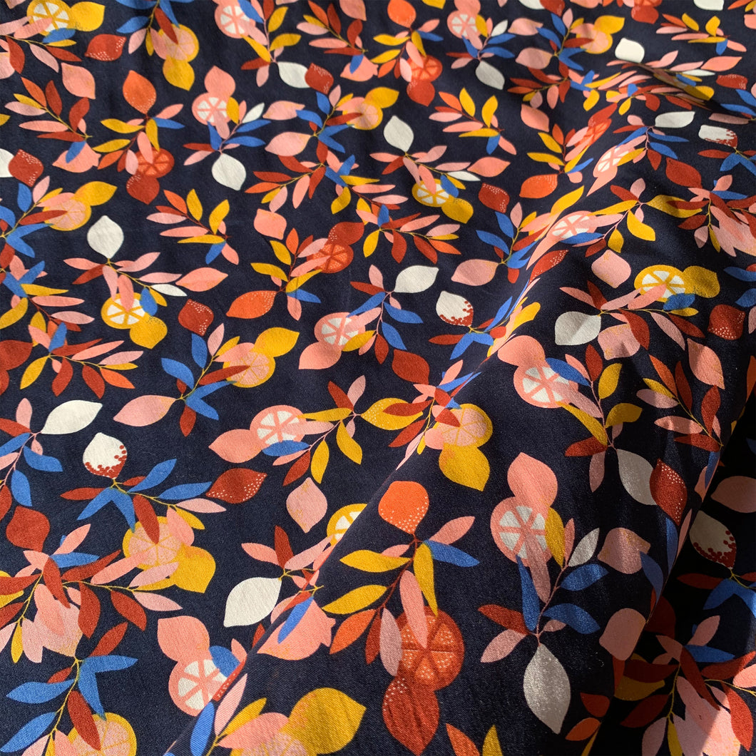 NAVY BLUE LEMON LEAVES PRINTED COTTON POPLIN FABRIC