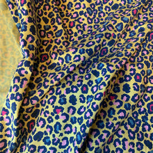 Load image into Gallery viewer, YELLOW LEOPARD PRINT COTTON JERSEY REMNANT 36CM x 145CM