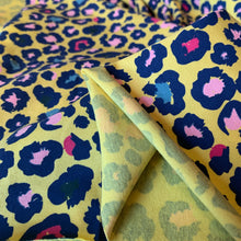 Load image into Gallery viewer, YELLOW LEOPARD PRINT COTTON JERSEY REMNANT 182CM x 145CM