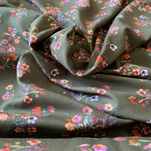 Load image into Gallery viewer, OLIVE KHAKI GREEN FLORAL COTTON JERSEY FABRIC