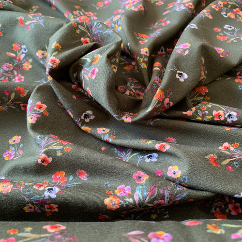 OLIVE KHAKI GREEN FLORAL COTTON JERSEY FABRIC