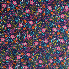 Load image into Gallery viewer, WILD FLOWER COTTON JERSEY NAVY REMNANT 84CM X 150CM