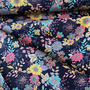 RETRO BLOOM FLORAL COTTON POPLIN FABRIC NAVY YELLOW PINK BLUE LILAC PRINT