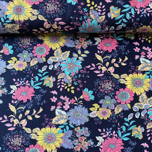 RETRO BLOOM FLORAL COTTON POPLIN