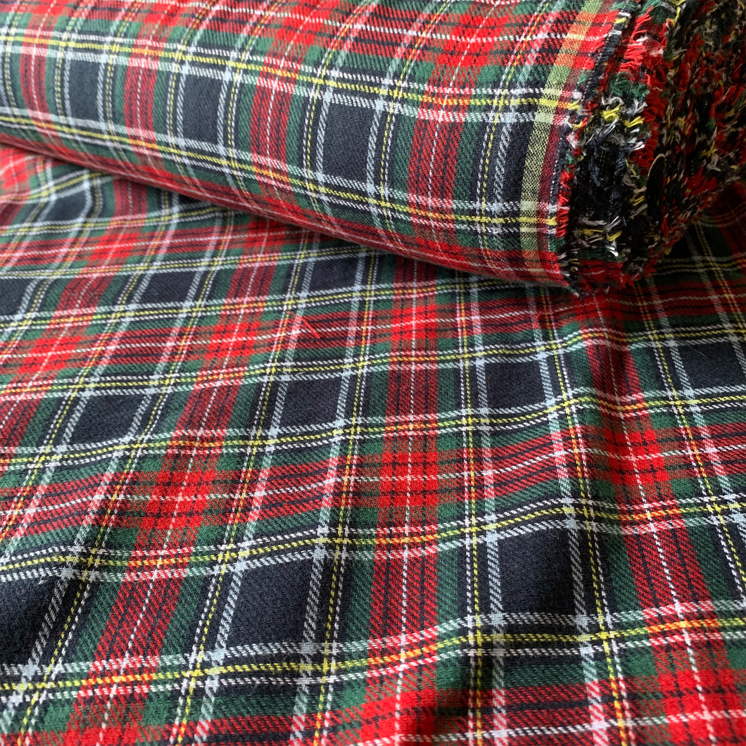 TRADITIONAL BRUSHED COTTON CHECK FABRIC RED GREEN