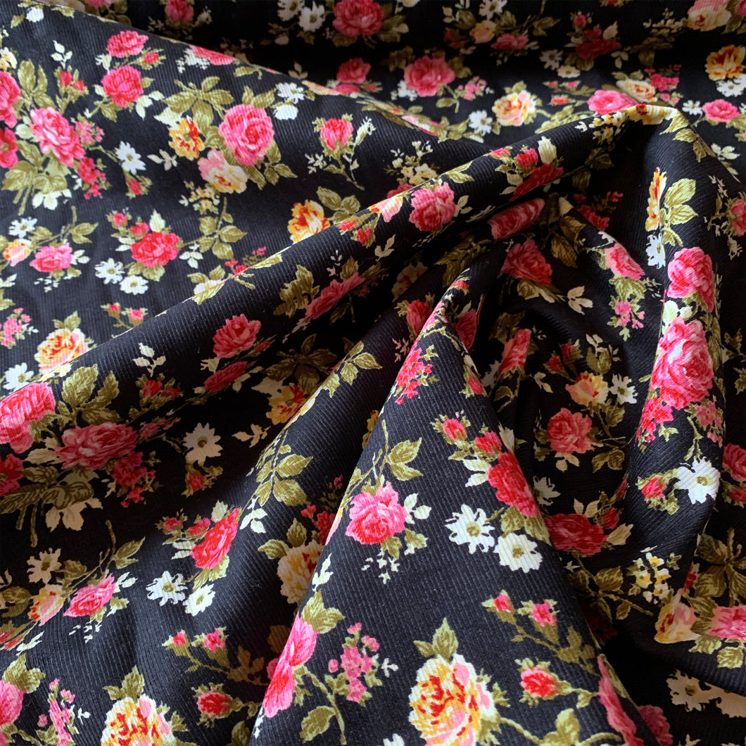 ROSE FLORAL PRINTED CORDUROY FABRIC