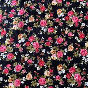 ROSE FLORAL PRINTED NEEDLECORD REMNANT 120CM X 111CM