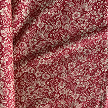 Load image into Gallery viewer, BURGANDY & BEIGE FLORAL COTTON POPLIN