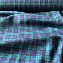 Load image into Gallery viewer, GREEN BLUE BRUSHED COTTON CHECK FABRIC