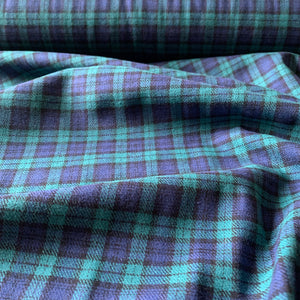 GREEN BLUE BRUSHED COTTON CHECK FABRIC