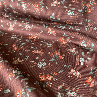NEWBURY HALL FLORAL NEEDLECORD FABRIC IN COFFEE