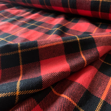 BLACK RED BRUSHED COTTON CHECK FABRIC