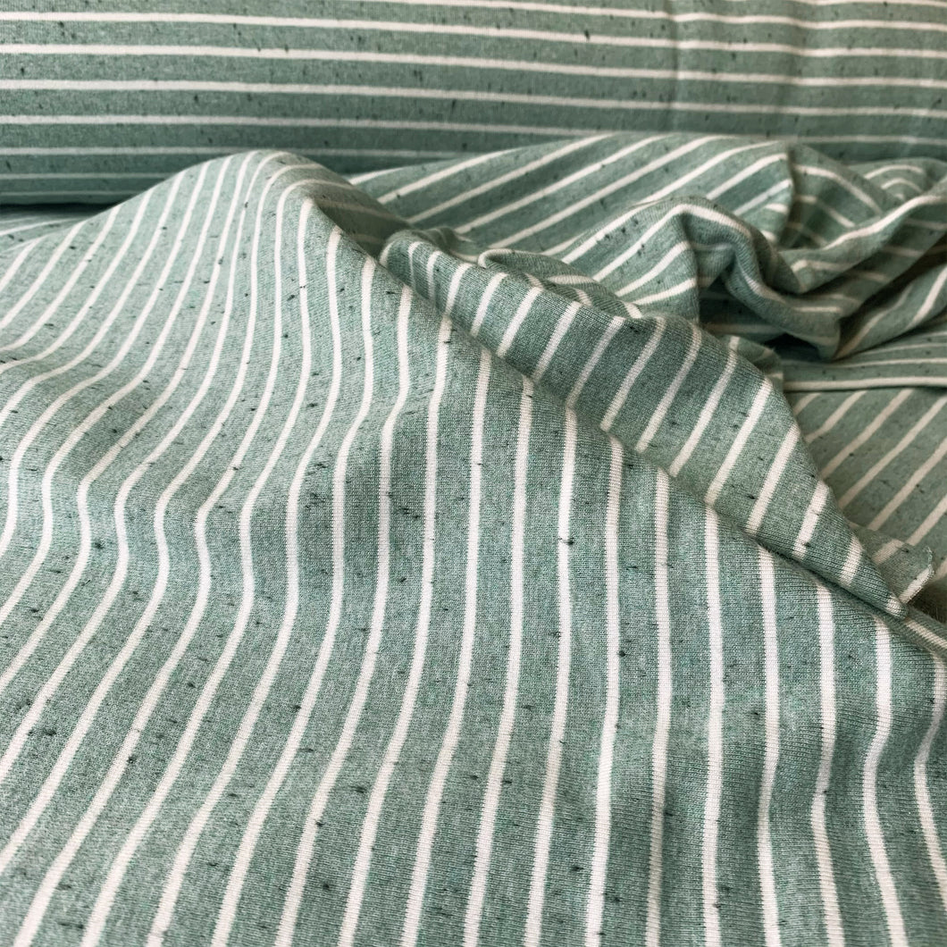 OLD GREEN MENALNGE STRIPE COTTON JERSEY FABRIC