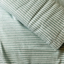 Load image into Gallery viewer, OLD GREEN MELANGE STRIPE COTTON JERSEY