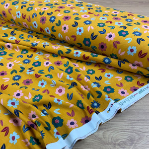 OCHRE FLORAL FRENCH TERRY REMNANT 65CM X 160CM