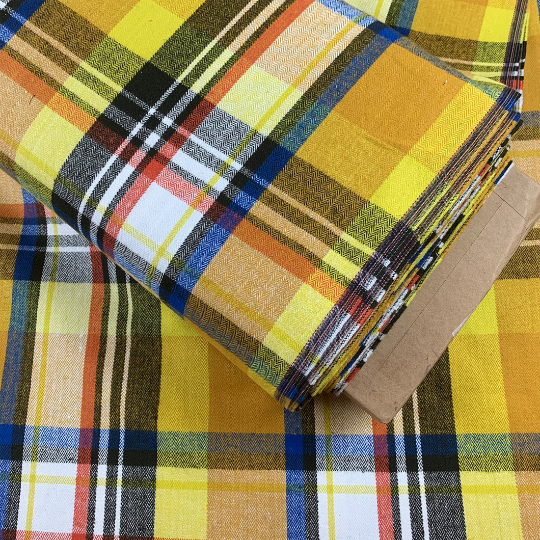 COTTON HERRINGBONE CHECK FABRIC YELLOW