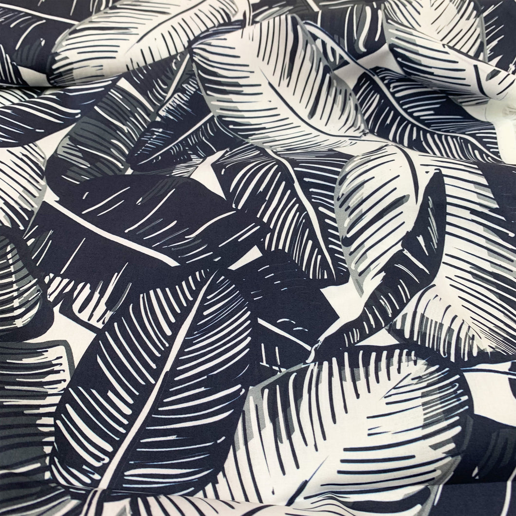FEATHER PALM MARINE COTTON LAWN FABRIC LADY MCELROY