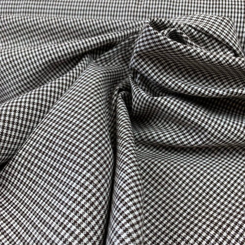 MINI CHECK SUITING FABRIC IN BROWN