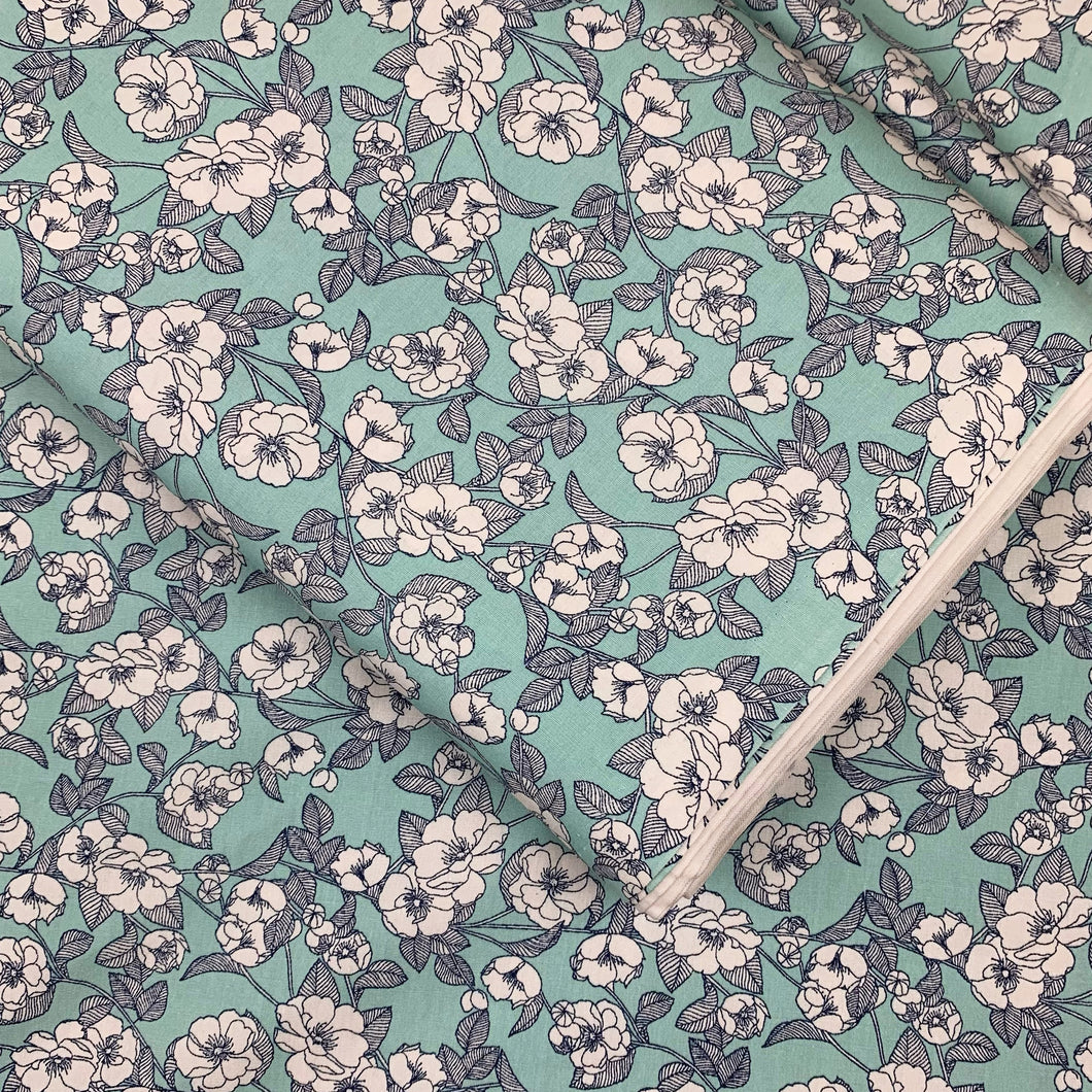 MINT FLORAL COTTON POPLIN FABRIC