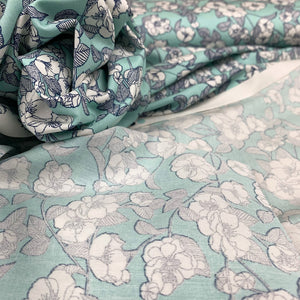 MINT FLORAL COTTON POPLIN