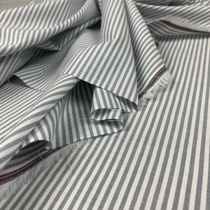 STRIPED COTTON CHAMBRAY FABRIC IN GREY
