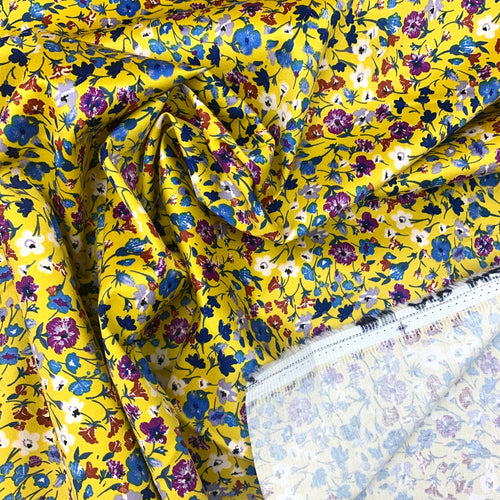 SUNSHINE YELLOW FLORAL STRETCH COTTON SATEEN FABRIC