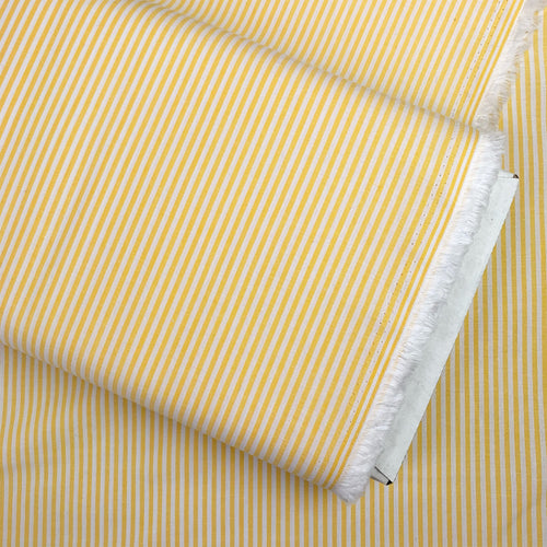 YARN DYED COTTON CHAMBRAY STRIPED FABRIC IN YELLOW AND WHITE