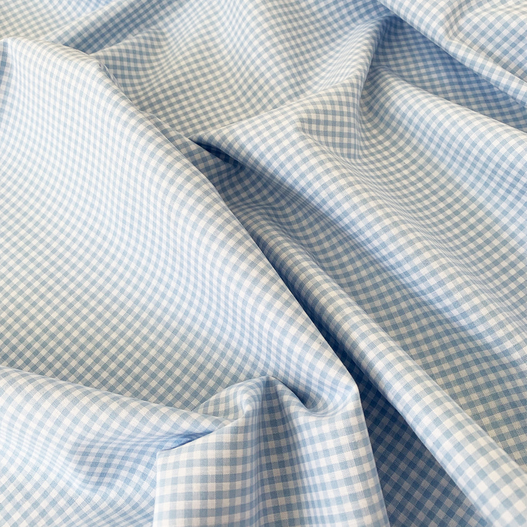 YARN DYED MINIATURE LIGHT BLUE COTTON GINGHAM