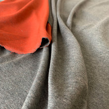 Load image into Gallery viewer, GREY MARL CHARCOAL ORANGE RED LOOPBACK JERSEY SWEATSHIRT FABRIC