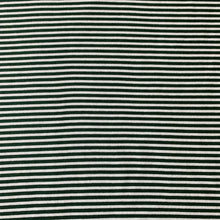 Load image into Gallery viewer, DARK GREEN AND WHITE STRIPE ALPINE FLEECE SWEATSHIRTING REMNANT 160CM X 85CM