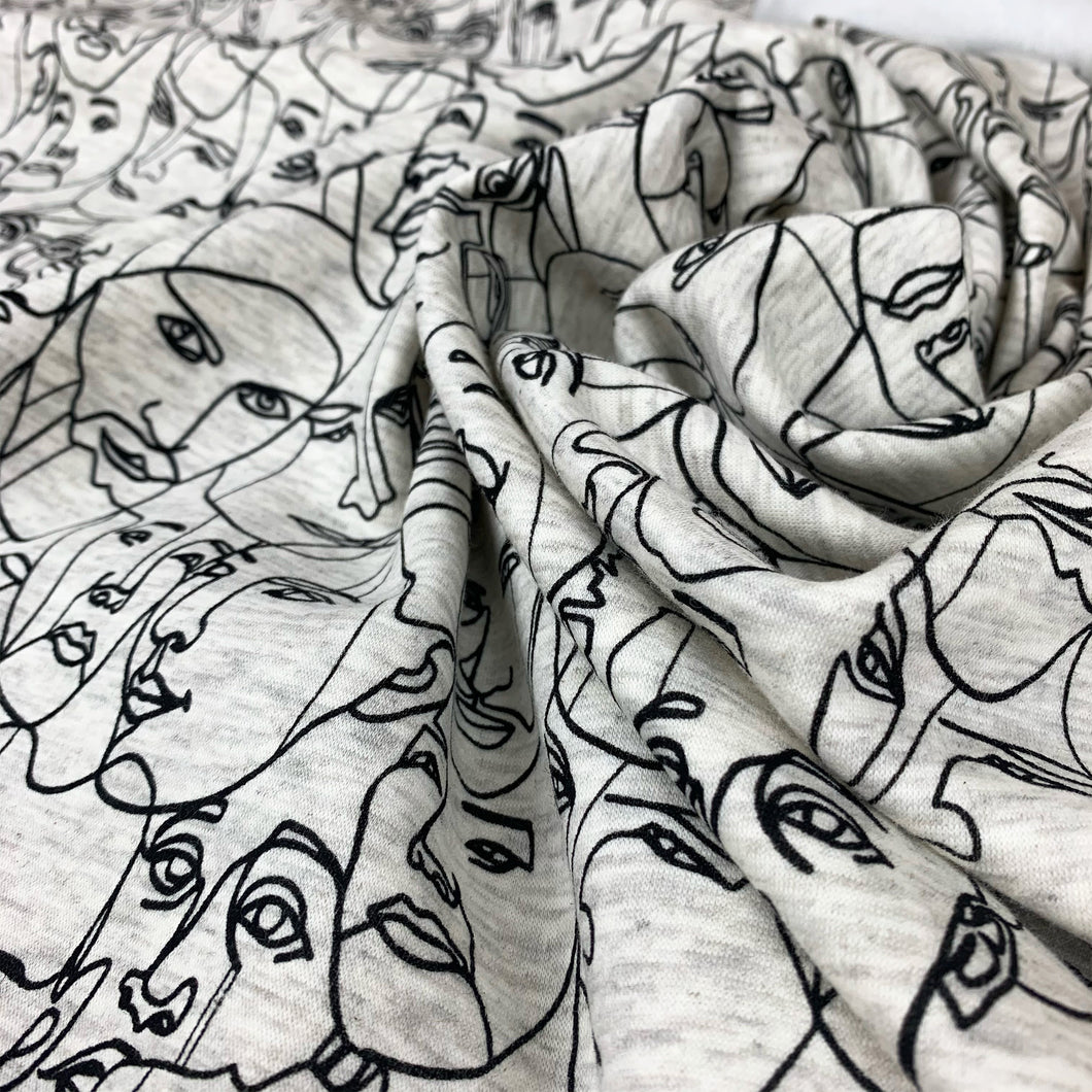 ABSTRACT FACES BRUSHED SWEATSHIRTING