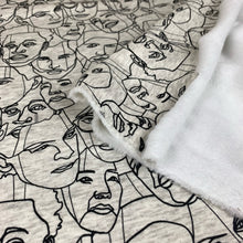 Load image into Gallery viewer, ABSTRACT FACES BRUSHED SWEATSHIRTING