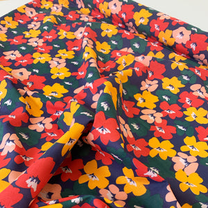 COLOUR BLOCK FLORAL POLYCOTTON IN NAVY