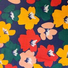 Load image into Gallery viewer, COLOUR BLOCK FLORAL POLYCOTTON IN NAVY