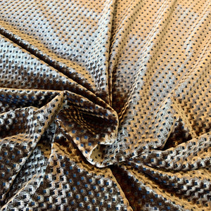 BURN OUT DIAMOND VELOUR FABRIC IN COPPER BROWN