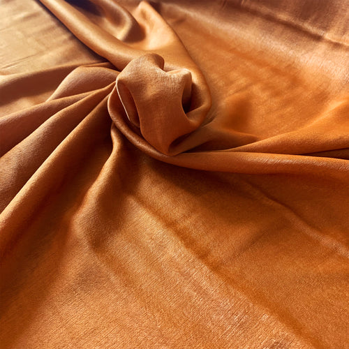 RUST TERRACOTTA VELVET TOUCH SATIN FABRIC