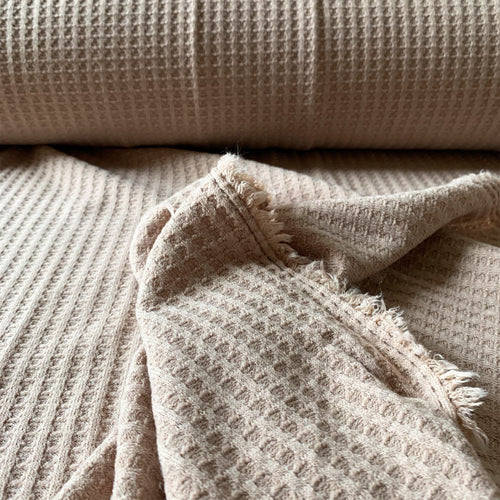 POWDERED BLUSH CREAM BEIGE WAFFLE KNIT FABRIC