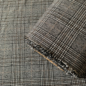 BLACK WHITE BROWN CHECK COATING FABRIC