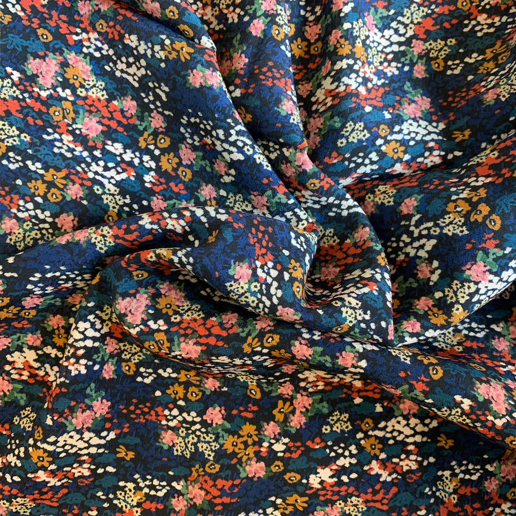 LADY MCELROY NAVY FLORAL VISCOSE CREPE