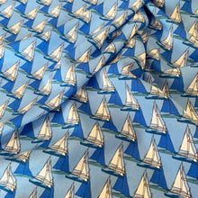Load image into Gallery viewer, BLUE SAILBOATS VISCOSE LAWN 137CM X 142CM