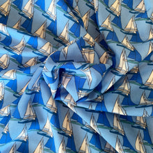 Load image into Gallery viewer, BLUE SAILBOAT PRINTED VISCOSE LAWN FABRIC