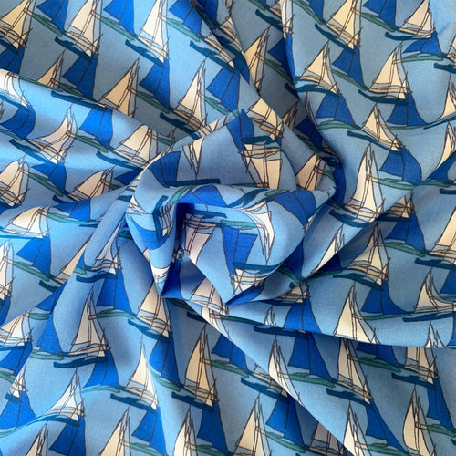 BLUE SAILBOAT PRINTED VISCOSE LAWN FABRIC
