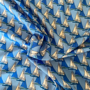 BLUE SAILBOATS VISCOSE LAWN