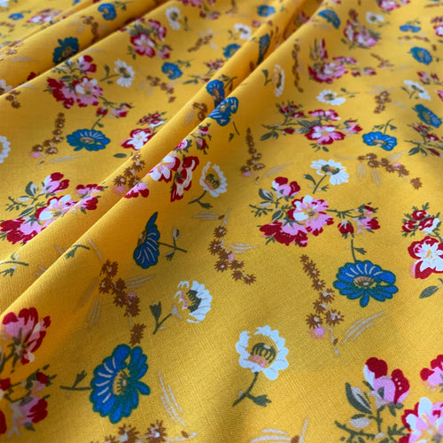 SUNFLOWER MUSTARD YELLOW FLORAL PRINT VISCOSE FABRIC