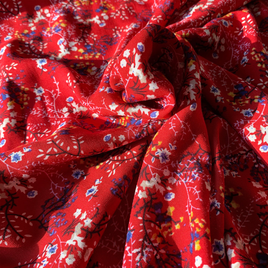CHERRY RED DITSY FLORAL VISCOSE