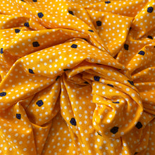 Load image into Gallery viewer, DOTS AND DAISIES YELLOW VISCOSE JERSEY FABRIC REMNANT