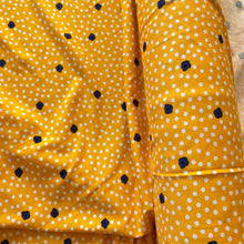 Load image into Gallery viewer, DOTS AND DAISIES VISCOSE JERSEY YELLOW REMNANT 187CM X 150CM