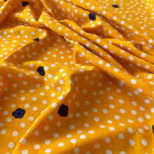 Load image into Gallery viewer, DOTS AND DAISIES VISCOSE JERSEY FABRIC YELLOW