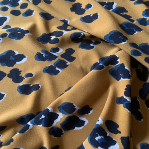 GOLDEN LEOPARD VISCOSE STRETCH CREPE FABRIC