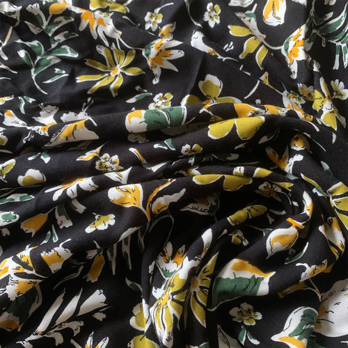 BLACK AND GREEN FLORAL VISCOSE LAWN